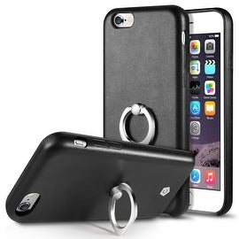CobblePro Synthetic Leather Textured Back Cover with Ring Stand Compatible with Apple iPhone 6/ 6S