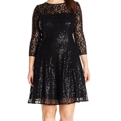 SLNY Black Sequin Floral Lace Women's Size 20W Plus Sheath Dress