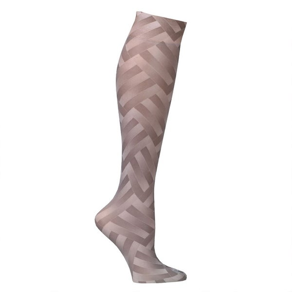 Celeste Stein Mild Compression Knee High Stockings, Wide Calf - Taupe ZigZag
