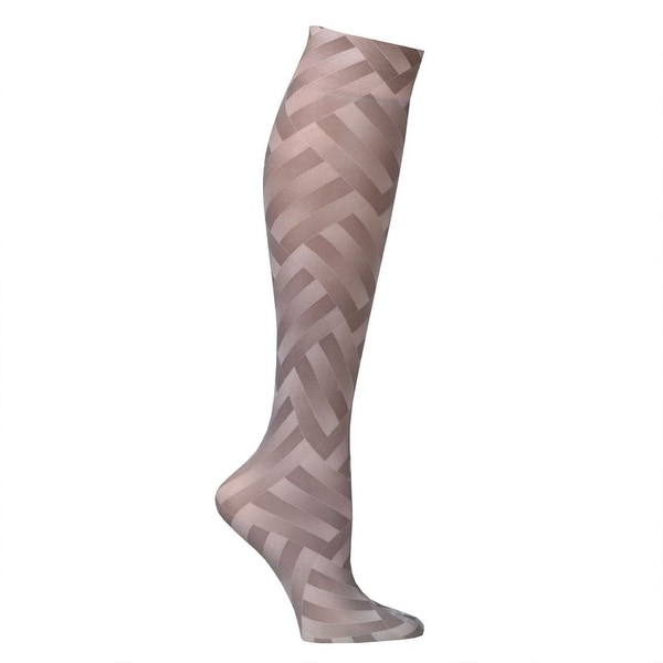 Women's Printed Moderate Compression Knee High Stockings - Taupe ZigZag