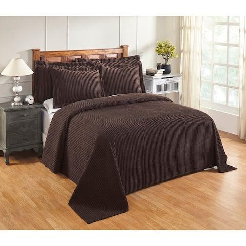 Better Trends Jullian Solid Stripes Design Bedspread 100% Cotton Tufted Chenille