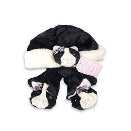 Fuzzy Wear Girls Kitty Hat & Mitten Set, Black, 12-18 Months