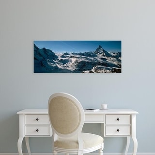 Easy Art Prints Panoramic Images's 'Skiers on mountains in winter, Matterhorn, Switzerland' Premium Canvas Art