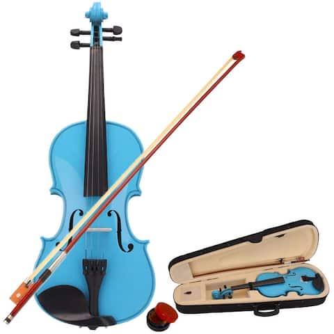 4/4 Acoustic Violin Case Bow Rosin Multi-Color
