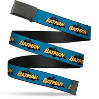 Blank Black Buckle Vintage Batman Logo Blue Webbing Web Belt