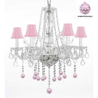 Crystal Chandelier  Lighting With Pink Crystal Balls and Pink Shades