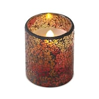 """4"""" Green and Red Mosaic Glass Flameless LED Lighted Pillar Candle"""