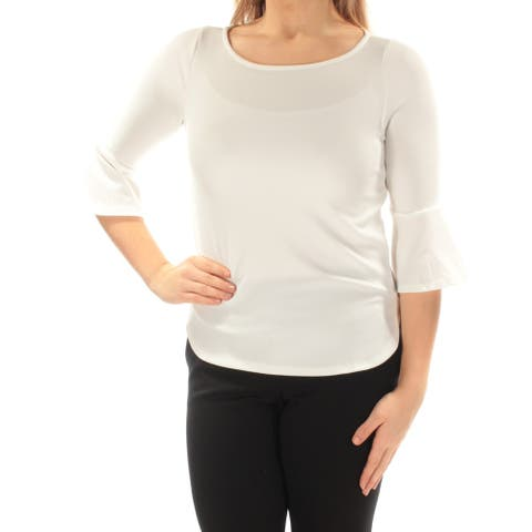 BAR III Womens Ivory Textured 3/4 Sleeve Jewel Neck Top Size S