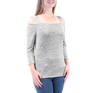 INC Womens Gold Cut Out Long Sleeve Square Neck Top Size: M