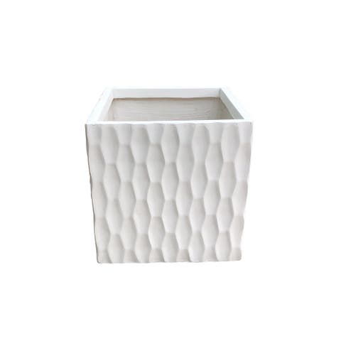 Kante Lightweight Concrete Retro Square Outdoor Planter, Large, 16 Inch Tall, Pure White