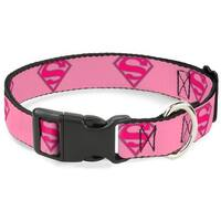 Buckle-Down Superman Shield Pink Pet Collar - Large