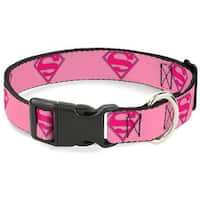 Buckle-Down Superman Shield Pink Pet Collar - Small