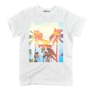 Palm Tree Retro Sunset Ocean Beach Surf Outdoor Vacation Novelty Youth T-Shirt
