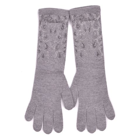 Roberto Cavalli Grey Knitted Wool Stone Embellished Long Gloves One Sz~RTL $695 - One Size