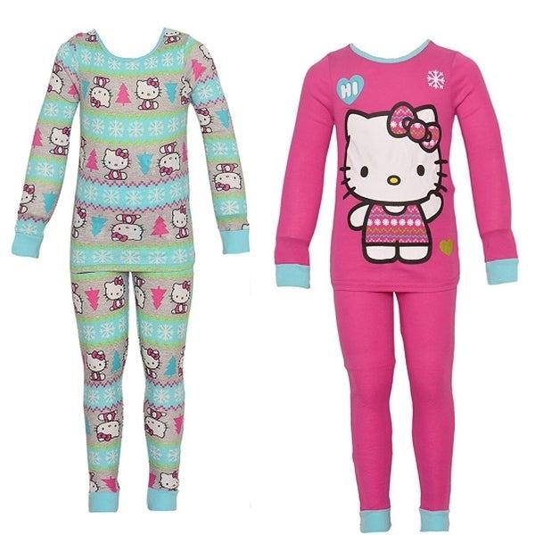 e6f37d598 Hello Kitty Little Girls Aqua Kitty Snowflake Print 2 Pajama Sets ...