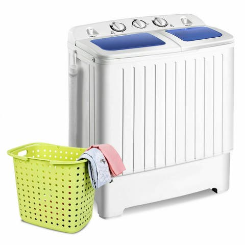 Gymax Compact Portable Washing Machine Twin Tub 17.6 Lbs Washer Spinner Home Dorm
