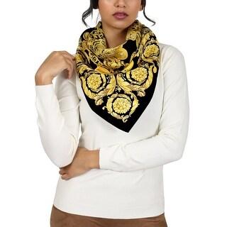Versace Black/Gold Creponne Chain Print Silk Foulard Scarf - 34-34