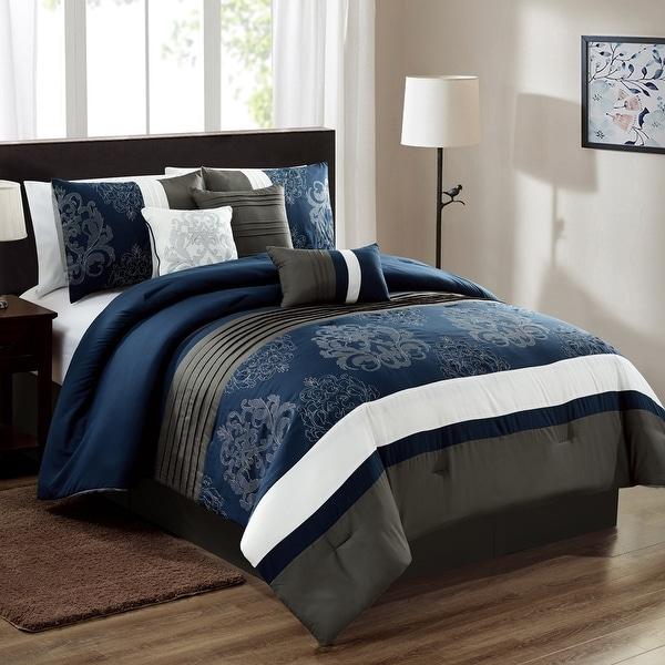 Porch & Den Marino Navy Microfiber 7-piece Comforter Set. Opens flyout.
