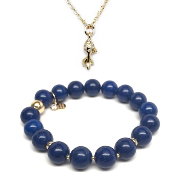 Blue Jade Bracelet & CZ Goldfish Gold Charm Necklace Set