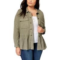 Lucky Brand Womens Plus Utility Jacket Peplum Long Sleeves