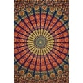 Handmade Sanganer Mandala Peacock 100% Cotton Tapestry Tablecloth Bedspread in Red Blue & Green colors in Twin & Full sizes - Thumbnail 11