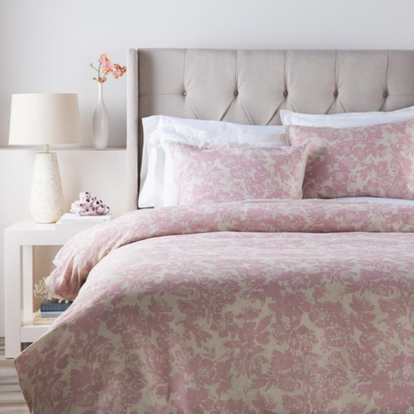 Dusty Rose Pink and Cool Gray Elegant Blossom Dreams Linen Decorative Twin Set