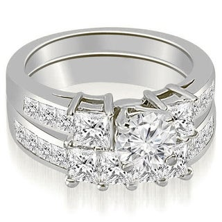 2.70 CT.TW Channel Set Princess and Round Cut Diamond Engagement Set i - White H-I