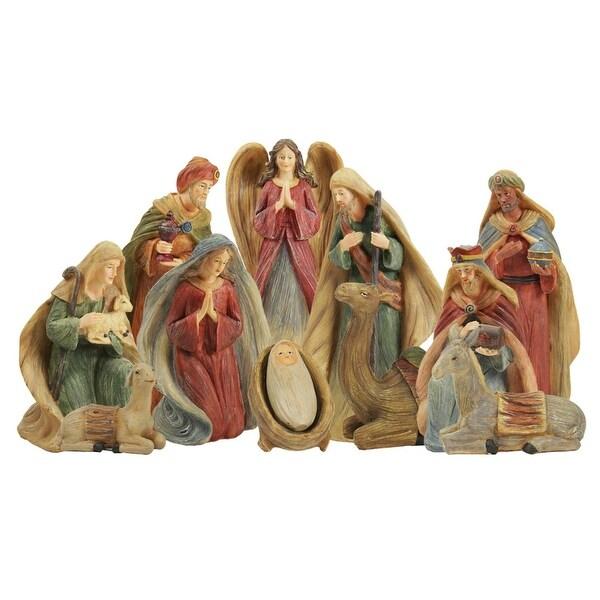 "12-Piece Inspirational Religious Stylized Christmas Nativity Figure Set 9.25"""