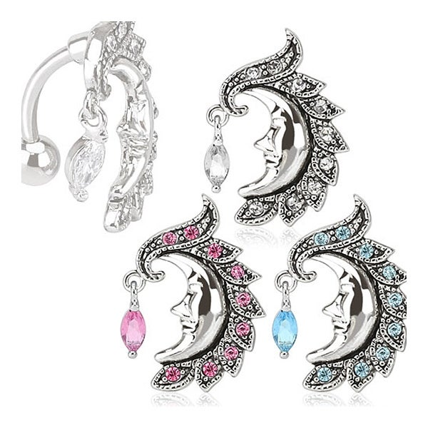 Crescent Moon Face with Gem Dangle Top Down 316L Surgical Steel Navel Belly Button Ring