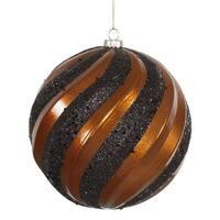 Vickerman  Copper-Black Matte-Glitter Swirl Ball Ornament - 6 in.