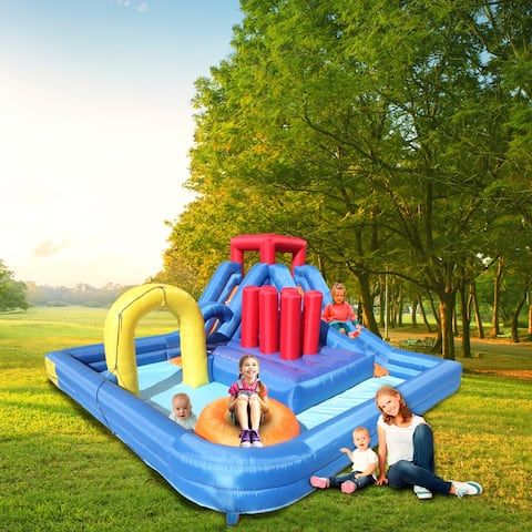New Inflatable Water Slide Bouncer River Race Area Climbing Wall Water Cannon And Hose For Kids