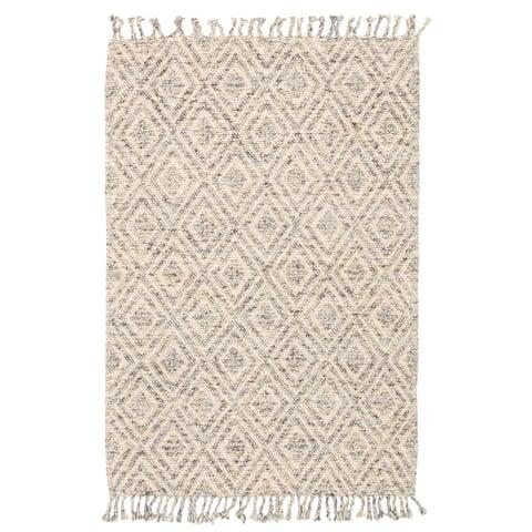 ECARPETGALLERY Braid weave Sienna Light Blue Wool Rug - 2'0 x 7'8