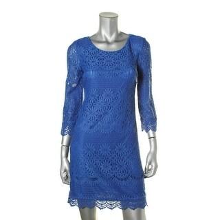 Laundry by Shelli Segal Womens Lace Crochet Trim Casual Dress
