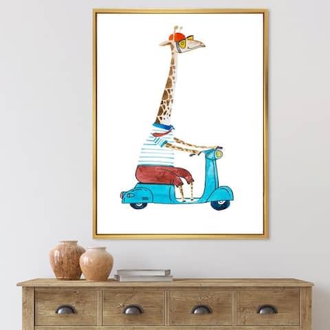 Designart 'Giraffe Dressed Up Wearing Helmet & Riding Scooter' Children's Art Framed Canvas Wall Art Print