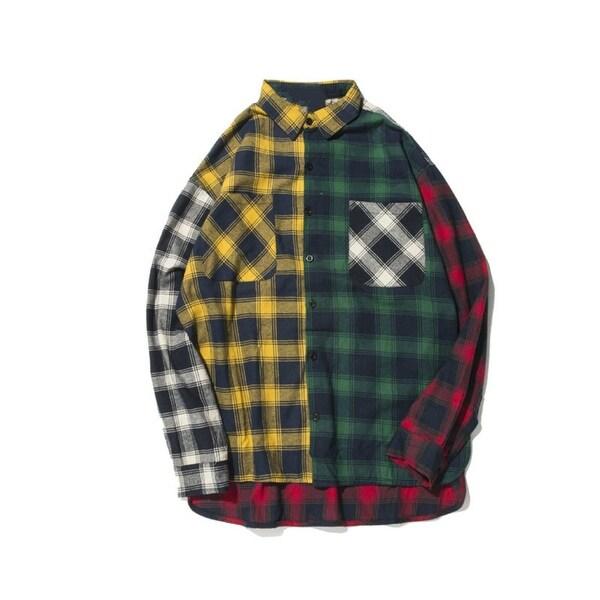 97f5de52f95aa Shop Long Sleeve Shirts Men Hip Hop Color Block Patchwork Plaid ...