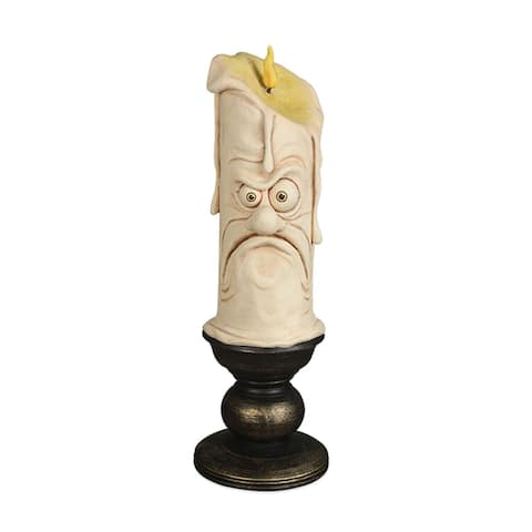 "12"" Ivory and Black Grumpy Candle Tabletop Halloween Decor"