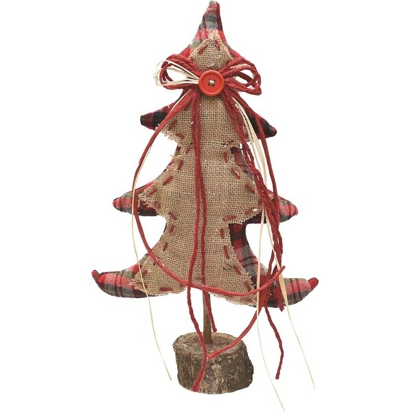 """16"""" Burlap and Plaid Decorative Table Top Christmas Tree on Wooden Base"""
