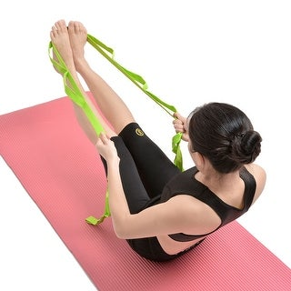 Multi-Grip Stretch Strap, Yoga Stretching & Flexibility Stretch Belt for Exercise Gym Fitness, Green