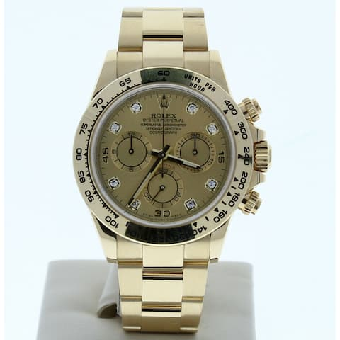 Preonwed 116508 Rolex Daytona Champagne Diamond Dial Yellow Gold - Champagne Diamond Dial