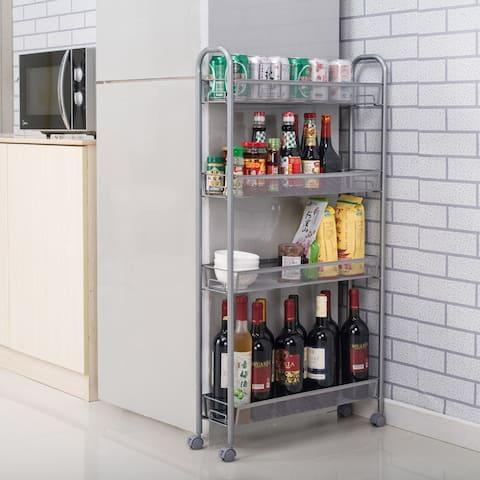 Honeycomb Mesh Carbon Steel 4-tier Portable Kitchen Storage Cart