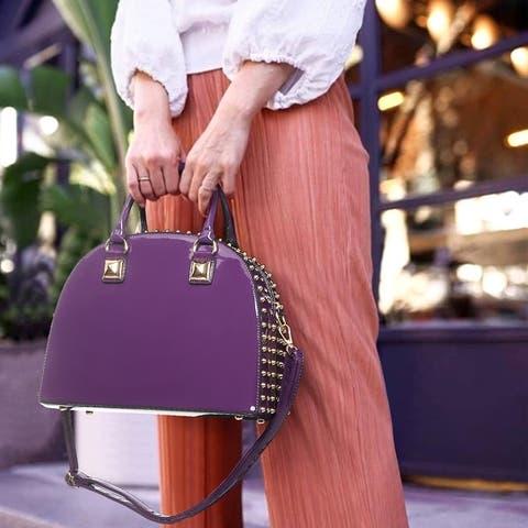 Dasein Fashion Patent Leather Studded Dome Zip Around Handbag