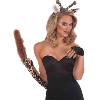 Giraffe Ears And Tail Set Adult Costume Accessory - Beige