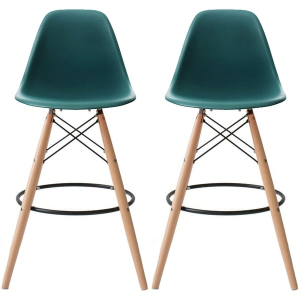 Shop 2xhome 28 Inch Plastic Chair Dsw Teal Counter Stool Bar Stool