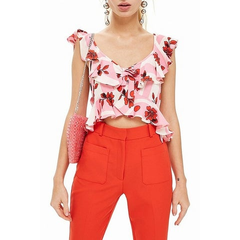 TopShop Pink Women's Size 6 Floral Print Ruffle Trim Cropped Top