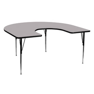 Offex 60''W x 66''L Horseshoe Activity Table with Grey Thermal Fused Laminate Top and Standard Height Adjustable Leg