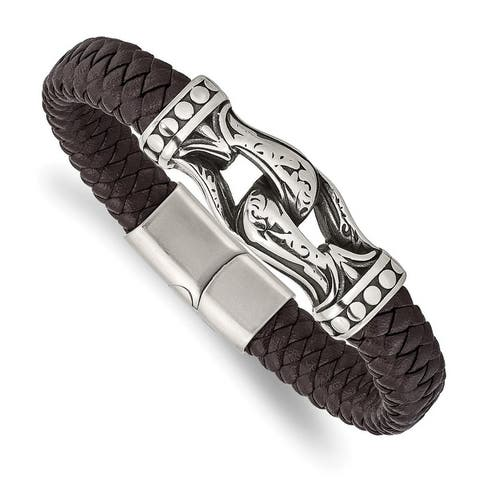 Chisel Stainless Steel Antiqued and Polished Dark Brown Faux Leather 8.5 Inch Bracelet