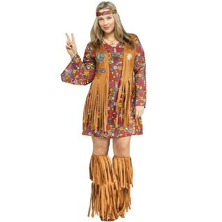 Fun World Peace and Love Hippie Plus Size Costume - Brown - plus size