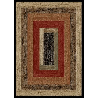 Link to Mayberry Hearthside Rustic Panel Striped Lodge Area Rug Similar Items in Rugs
