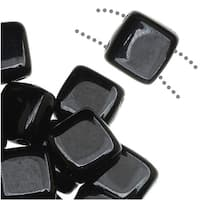 CzechMates Glass 2-Hole Square Tile Beads 6mm - Jet Black (1 Strand)