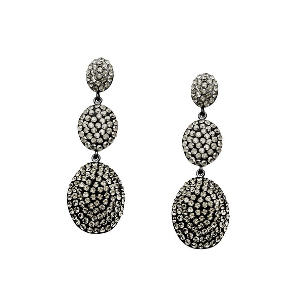 Crystaluxe Triple Drop Earrings with Slate Swarovski Crystals in Sterling Silver - grey